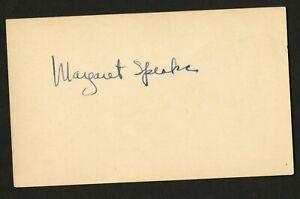 Margaret Speaks d.1977 signed autograph auto 3x5 index card Opera Singer C692