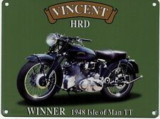 Vincent HRD Motorcycle, Classic/Vintage Motorbike, Small Metal Tin Sign, Picture