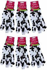 6x Pairs Cotton GARDENING GLOVES Multipurpose Housework COW Design