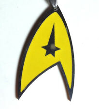 "Star Trek YELLOW Command Symbol 1.5"" Necklace w/Silver Chain-Mailed from USA"