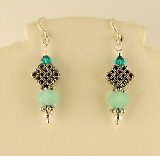 Irish Silver Celtic Knot Earring with Teal Blue Zircon Swarovski Crystals