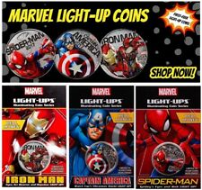 2017 Marvel Light-Ups 3-Coin Set Silver Plated Specimen $0.50 OGP