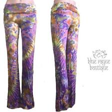 Marble Tie Dye Hippie Boho Festival Soft Stretch Foldover Yoga Pants Size S/M 1