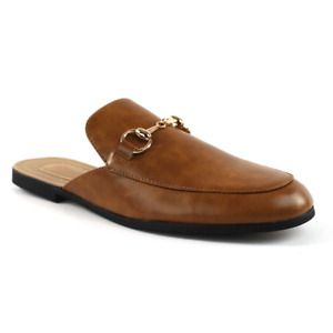 Mens Cognac Brown Leather Backless Slip On Mule Gold Buckle Loafers By AZAR MAN