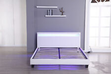 Modern Platform Full Size Leather Bed Frame Slats Headboard w/LED Light White