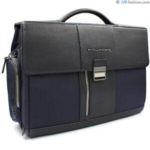 "PIQUADRO men's blue tech fabric & leather business briefcase for 15"" laptop"