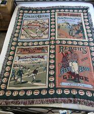 Olde Ball Game Baseball Theme Fringed Throw Blanket Cotton