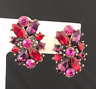 Kirks Folly Earrings Antique Copper Tone Pink & Purple Crystals Clip 7H
