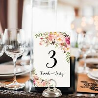 Personalised Wedding Party Table Number Card Table Seating Plan Rose Floral