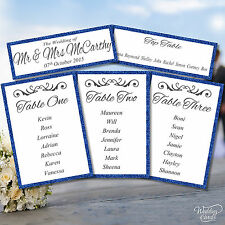 Personalised Wedding Table Plan Decoration Stationery card Glittering ANY COLOUR