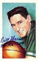Bill Sharman Signed Autographed Postcard Boston Celtics HOF 1976-2004 w/COA