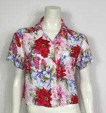 camicia vintage top maglia donna usato maglietta manica corta floreale T2987