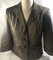 Ladies George Stretch Jacket Blazer 3/4 Sleeves Brown Mocha Taupe Button Sz 10
