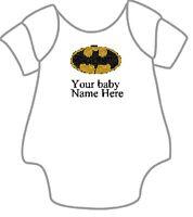 Personalised Embroidered Baby Batman Vest Grow Bodysuit Boy Girl Gift Keepsake