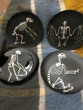 Set of 4 New Pottery Barn Skeleton Appetizer Plates - Halloween Collectibles