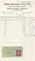 James Sinclair & Co. Ltd High St Moffat 1954 Invoice & Stamp Receipt Ref 41192
