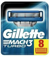 Gillette Mach 3 Turbo 3D Razors For Men 8 Razor Blades Refills New & Sealed