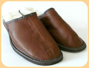 SHEEPSKIN SLIPPERS GENTS MULE STYLE 100% GENUINE LEATHER UPPER AND INNER