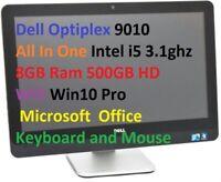 Dell Optiplex 9010 All In 1 Intel i5 3.1ghz 8GB 500GB Wifi Win10 MS Office