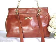 Vintage NINA RICCI Brown Caviar Leather Metal Strap Tote Shoulder Bag France