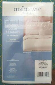 Mainstays Home 2 Standard/Queen Pillowcases 200ct Cotton/Poly Vanilla Dream NIP