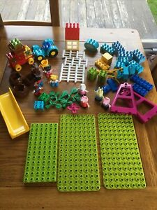 Duplo Lego Bundle Pieces Blocks Figures Farm Tractor Peppa Pig Slide