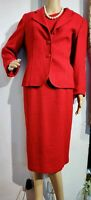 HOBBS FITTED SUIT DRESS 2 PIECE SIZE UK 14 US 10 RED 63% WOOL 20% COTTON 14% VIS