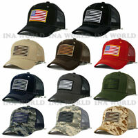 USA AMERICAN Flag Hat Tactical Military Snapback Mesh Trucker Baseball Cap