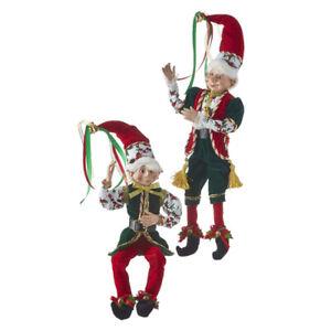 "2-PK 16"" POSABLE ELF Red & Green Holly RAZ Christmas Eve 4102260 NEW"