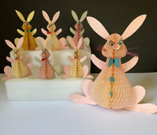 Vintage Set of 7 Honeycomb Easter Bunnies ~ Made in Denmark