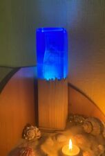 Handmade wooden epoxy magic lamp blue