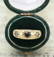 9CT GOLD SAPPHIRE AND CZ GYPSY RING, SIZE M 1/2, SEPTEMBER, BAND, VINTAGE 1987