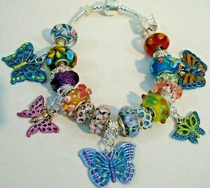 Garden Grace European Hand painted butterfly charms bracelet Murano beads colors