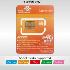 China Unicom SIM card Prepaid Data card 5GB LTE Access Google, shipping from US