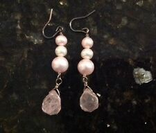 Drop Earrings Pearl Gem New Light Baby Pink Dangle
