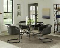 Transitional Style Dining Room 5 piece Round Glass Top Table & Chairs Set IN77