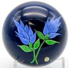 LARGE Alluring BACCARAT France BLUE Blooming FLOWERS Art Glass PAPERWEIGHT