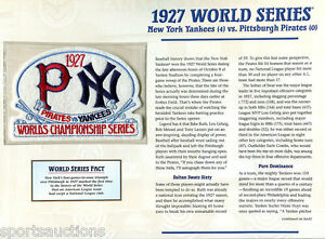 1927 WORLD SERIES PATCH CARD Willabee Ward NEW YORK YANKEES / PITTSBURGH PIRATES