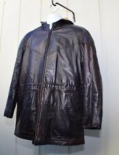 Vintage Kelly Hooded Leather Bomber Jacket Size 40 Brown Lined
