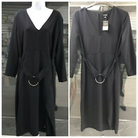 TopShop Black V Neck Wrap Split Dress Size UK-18 EU-46 US-14 AUS-18
