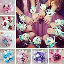 Wedding Beauty Bridesmaid Bridal Wrist Hand Flower Pearl Royal Corsage Stylish