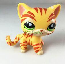 Littlest Pet Shop RARE Yellow Orange Tiger Cat Kitten Kitty Green Eyes LPS E1
