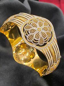 Stunning Heavy Dubai Handmade Bangle Bracelet In 916 Stamped 22K Multi-Tone Gold