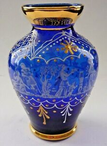 SUPERB VINTAGE COBALT BLUE ENAMELLED AND ETCHED GLASS VASE 24K GOLD DETAIL