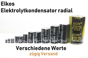 ELKO Kondensatoren Elkos Radial Elektrolyt Elektrolytkondensatoren 105°C