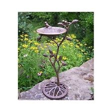 Garden Birdbath Cast Iron Outdoor Patio Backyard Water Bird Bath Decor New
