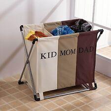 3 Section Large Folding Laundry Hamper organizer Washing Clothes Basket Storage