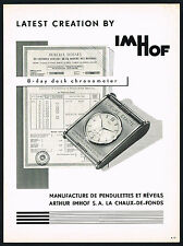 1950s Old Vintage 1956 Arthur Imhof Desk Chronometer Swiss Watch Clock Print Ad