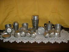 VINTAGE HEMO THOMPSON'S  & STANDHOME  ALUMINUM SHAKERS, COASTERS, MEASURING CUPS