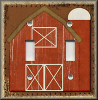 Metal Light Switch Plate Cover - Primitive Home Decor Red Barn Country Decor